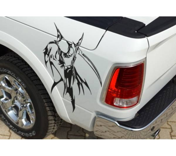 Pair Side Grim Reaper Skull Awesome Tribal Decal Car Truck Van Vinyl Sticker