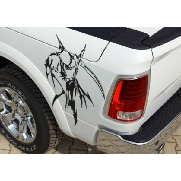 Pair Side Grim Reaper Skull Awesome Tribal Decal Car Truck Van Vinyl Sticker>