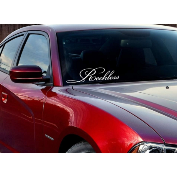 JDM Windshield Banner Reckless Racing Japan Low Bad Stance Drift Vinyl Decal Car>