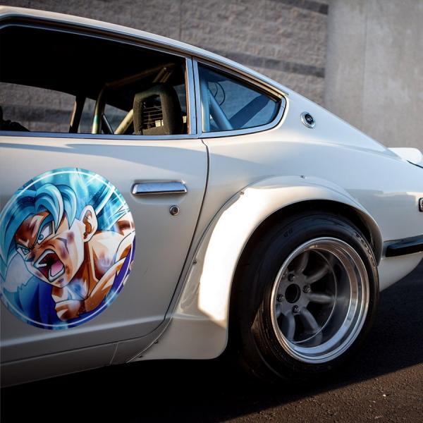 2x Pair Goku v2 Super Saiyan Blue Dragon Z Super ドラゴンボール DBZ Meatball Rondels Door Circle Printed Vinyl Decal>