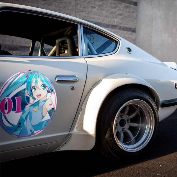 2x Pair Hatsune Miku 初音ミク 01 Vocaloid Anime Girl Manga Meatball Rondels Door Circle Printed Vinyl Decal>
