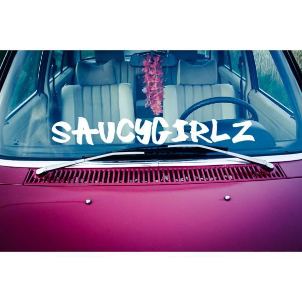 Saucygirlz Banner Girl Lady Driven Stance Clean Low Show  JDM Racing Drift Car Vinyl Sticker Decal