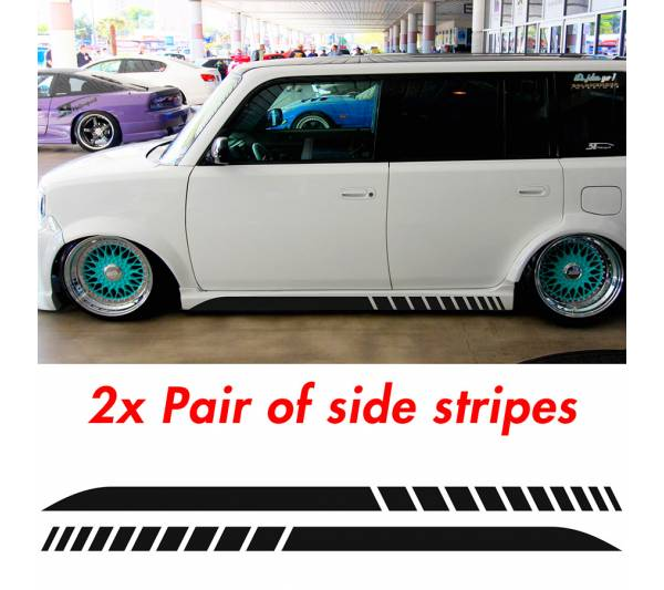2x Pair Side Stripes Scion xB JDM Low Stance Tuning Rising Racing Sun Japan Car Vinyl Sticker Decal