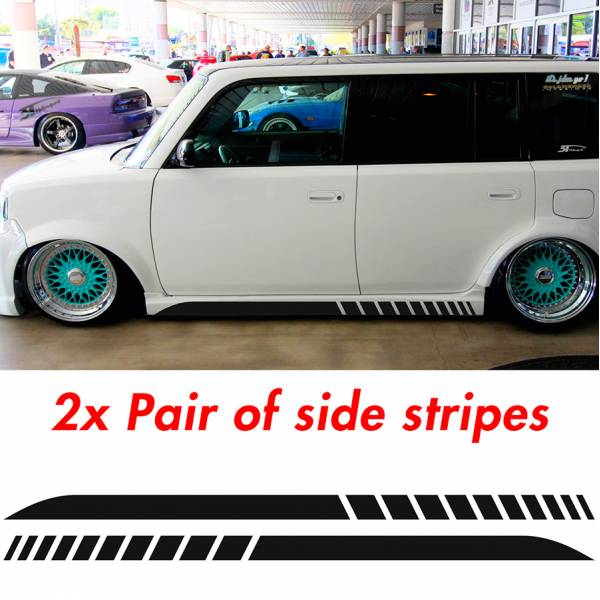 2x Pair Side Stripes Scion xB JDM Low Stance Tuning Rising Racing Sun Japan Car Vinyl Sticker Decal