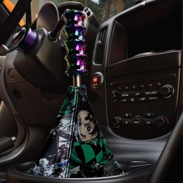 Demon Slayer v1 Anime Manga Tanjiro Kamado Nezuko Giyu Tomioka Eco Leather Printed Car Shift Boot>