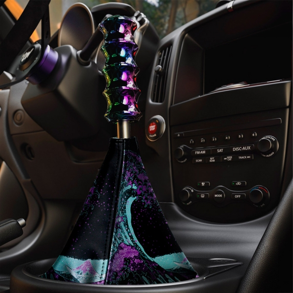 Great Wave Kanagawa JDM Stance Low Neon Style Show Event Eco Leather Printed Car Shift Boot>