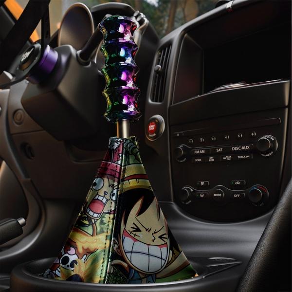 Monkey D Luffy v2 Straw Hat Brook Yamato Pirates Captain King Devil Fruit Anime Manga Eco Leather Printed Car Shift Boot>