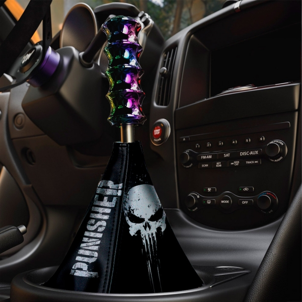 Distressed Skull Blood Comic Marine Corps USA Eco Leather Printed Car Shift Boot>