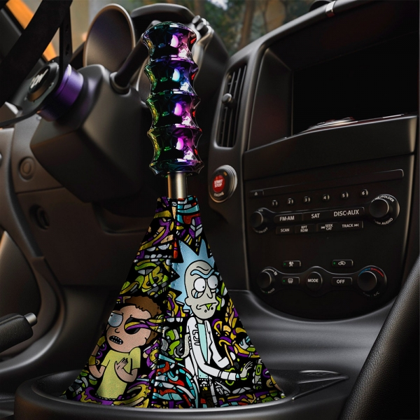 Cartoon Morty v1 Funny Wubalubadubdub Rick Eco Leather Printed Car Shift Boot>