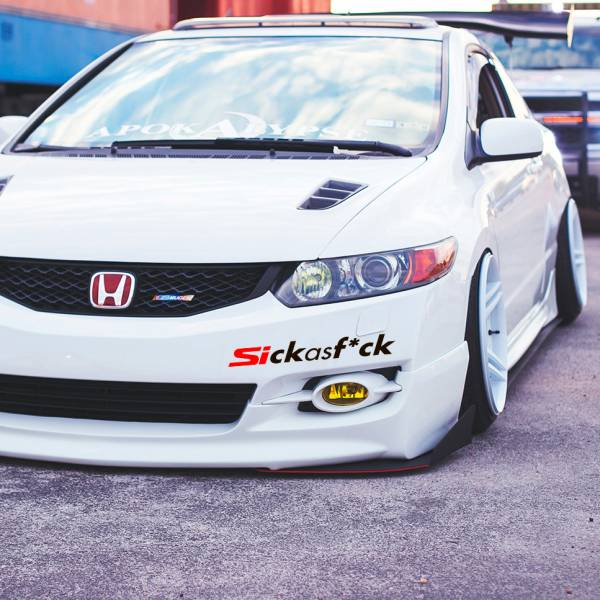 Sickasf*ck Sick Fresh Banner Civic Si Mugen Racing Low Show Funny Stance Slammed JDM Car Vinyl Sticker Decal>