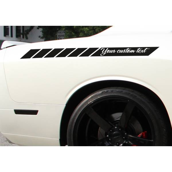 2x CUSTOM TEXT Side Body Stripes Racing Race Rally JDM Car Vinyl Sticker Decal>