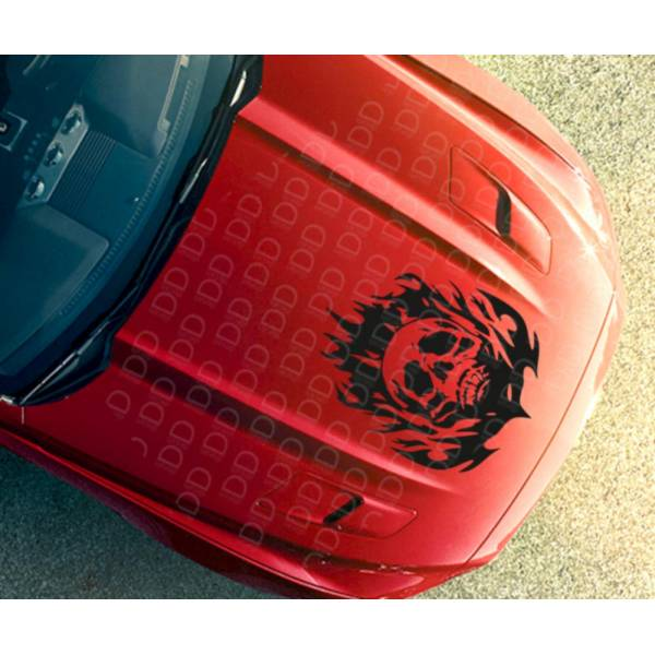 Large Hood Skull Flame Tribal Graphic Hot Rod Rock Punk Car Vinyl Sticker Decal >