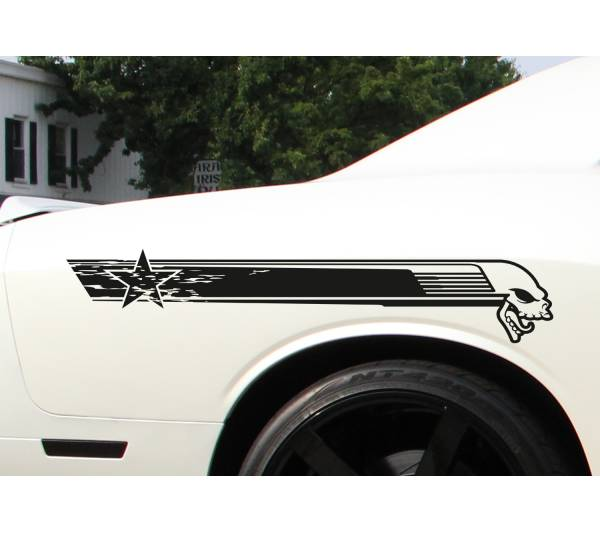2x Side Stripe Racing Skull Star Diesel Hot Rod US Car Truck Vinyl Sticker Decal