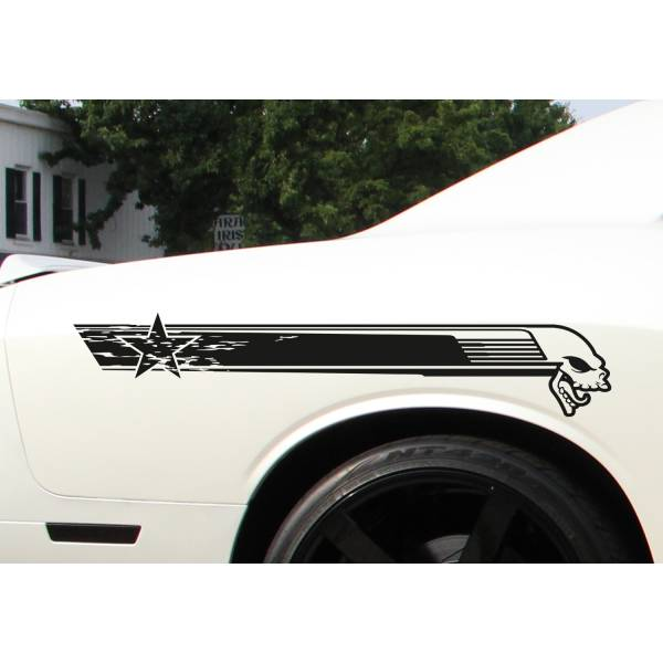 2x Side Stripe Racing Skull Star Diesel Hot Rod US Car Truck Vinyl Sticker Decal >