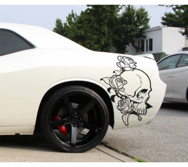 2x Pair Skull Roses Rock 4x4 Graphic Fender Side Car Truck Vinyl Sticker Decal