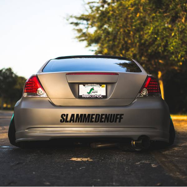 Slammedenuff v1 Banner Clean JDM Low Slammed Stance Tuning Drift Windshield Car Vinyl Sticker Decal >