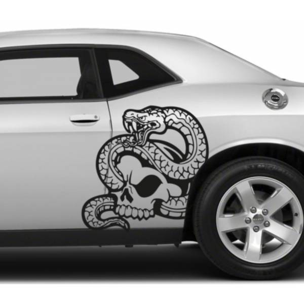 2x Pair Left Right Side Snake Skull Awesome Tribal Decal Car Truck Van Vinyl Decal>