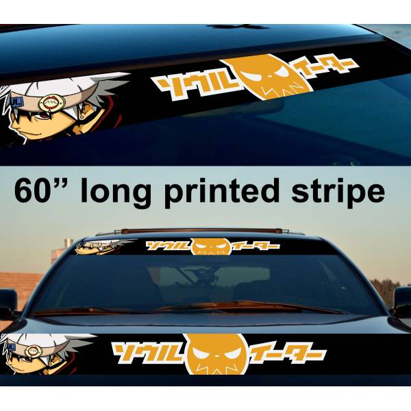 "60"" Soul Anime Manga Eater Sun Strip Printed Windshield Car Vinyl Sticker Decal>"