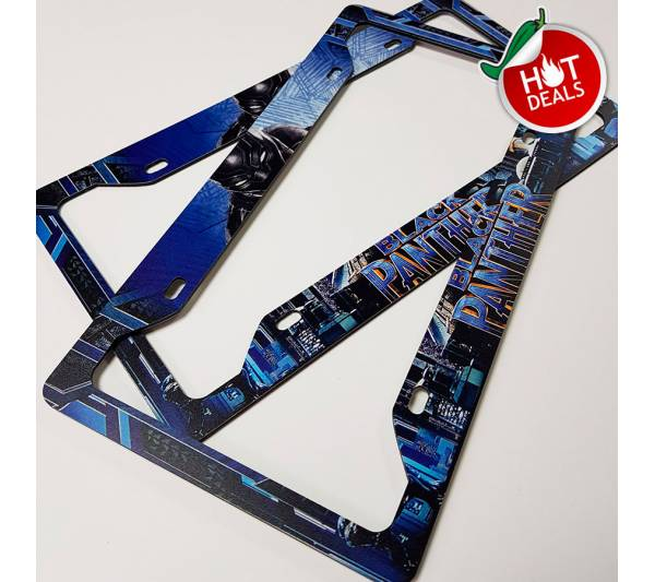 SPECIAL OFFER! Set of two Black Panther v2 Wakanda T'Challa Logo Avengers Marvel Comics Printed Aluminum Composite Car License Plate Frame
