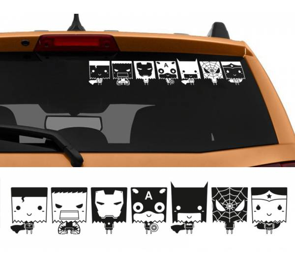 7in1 Superhero Family Superman Iron Man Batman Spiderman Wonder Woman Captain America Hulk Car Sticker Decal