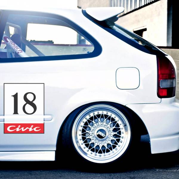 2x Pair Any Number v4 Door Osaka JDM Kanjo Performance Kanjozoku Honda Racing Civic EK EG Car Printed Vinyl Sticker