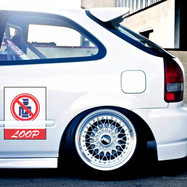 2x Pair Bye Bye Police Topgun Loop Door Osaka JDM Kanjo Performance Kanjozoku Honda Racing Civic EK EG Car Printed Vinyl Sticker