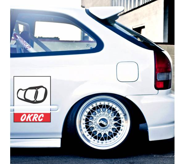 2x Pair OKRC Club Loop Door Osaka JDM Kanjo Performance Kanjozoku Honda Racing Civic EK EG Car Printed Vinyl Sticker