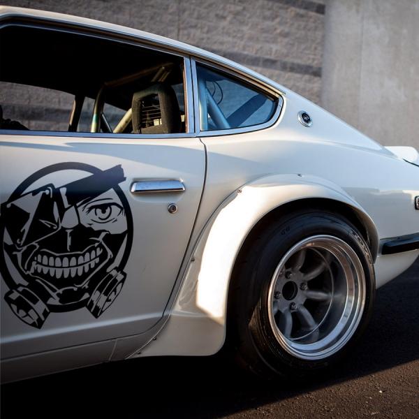2x Pair Side Ken Kaneki Mask Anteiku Eyepatch Smile Teeth Manga Anime Car Vinyl Sticker Decal>