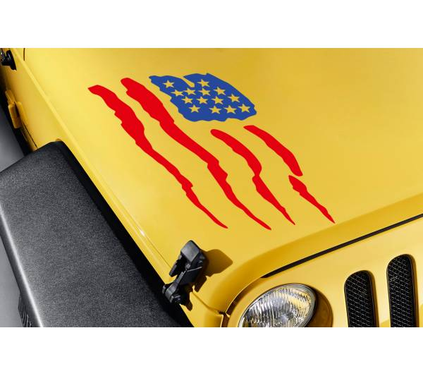 Hood USA American Flag Stars Stripes Truck TJ CJ JK LJ Vinyl Sticker Decal