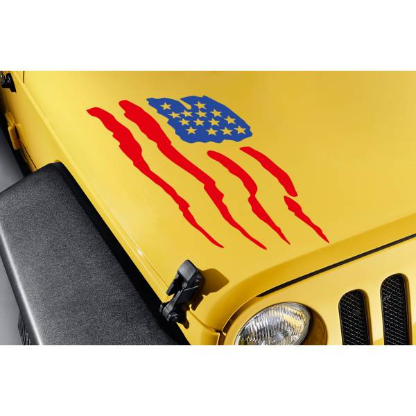 Hood USA American Flag Stars Stripes Truck TJ CJ JK LJ Vinyl Sticker Decal>