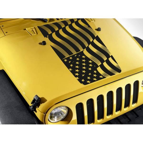 Hood Stripe Wave USA Military Flag Star Truck TJ CJ JK LJ Vinyl Sticker Decal