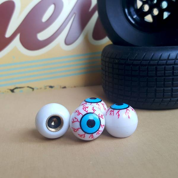 4x Eyes Blood Zombie Outbreak Funny JDM Valve Cap Tire Wheel Rims Cover Accessories Car Bike Truck>