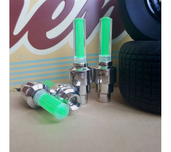 4x Neon LED Flash Light Lamp Green Dynamic Race Funny JDM Valve Cap Tire Wheel Rims Cover Accessories Car Bike Truck