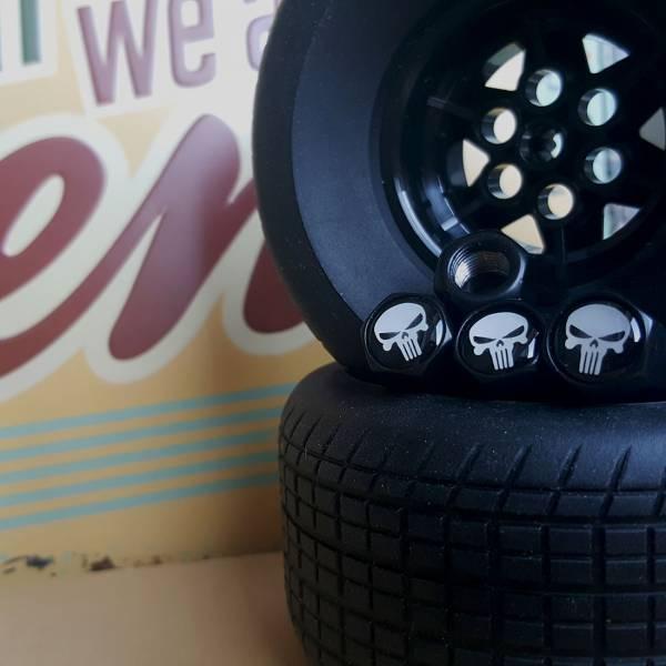 4x Punisher Marvel Comics Logo Skull Valve Cap Tire Wheel Rims Cover Accessories Car Bike Truck