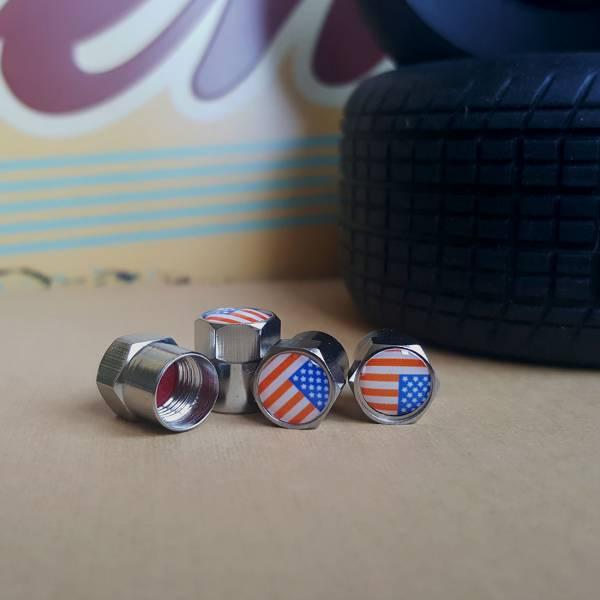 4x USA American Flaf Stars Patriotic Valve Cap Tire Wheel Rims Cover Accessories Car Bike Truck>