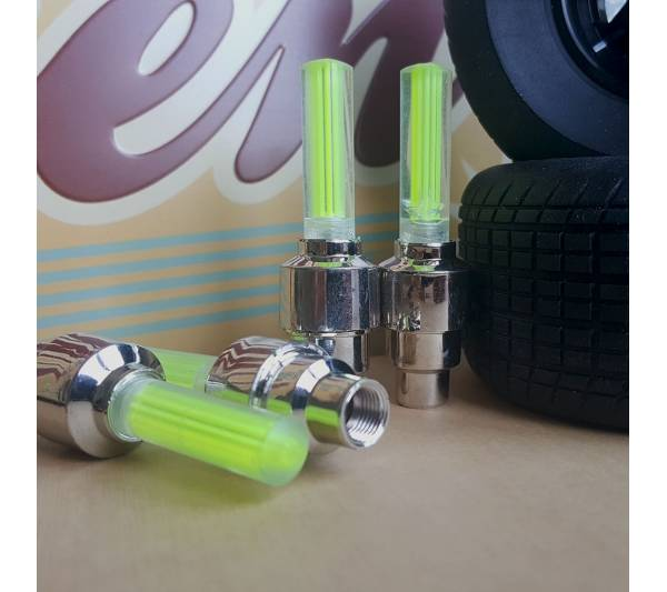 4x Neon LED Flash Light Lamp Yellow Dynamic Race Funny JDM Valve Cap Tire Wheel Rims Cover Accessories Car Bike Truck