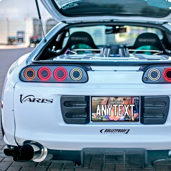 Anime Girl Sexy Boobs Manga Hot JDM CUSTOM ANY TEXT STATE Printed Aluminum Composite Car Vanity License Plate