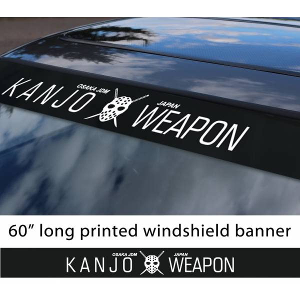"60"" Kanjo Weapon Mask Osaka Performance Loop Angels Civic Printed Sun Strip Windshield Banner Car Vinyl Sticker Decal>"