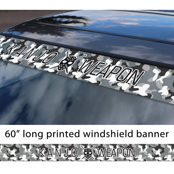 "60"" Kanjo Weapon Mask Osaka Performance Loop Angels Camouflage Civic Printed Sun Strip Windshield Banner Car Vinyl Sticker Decal>"