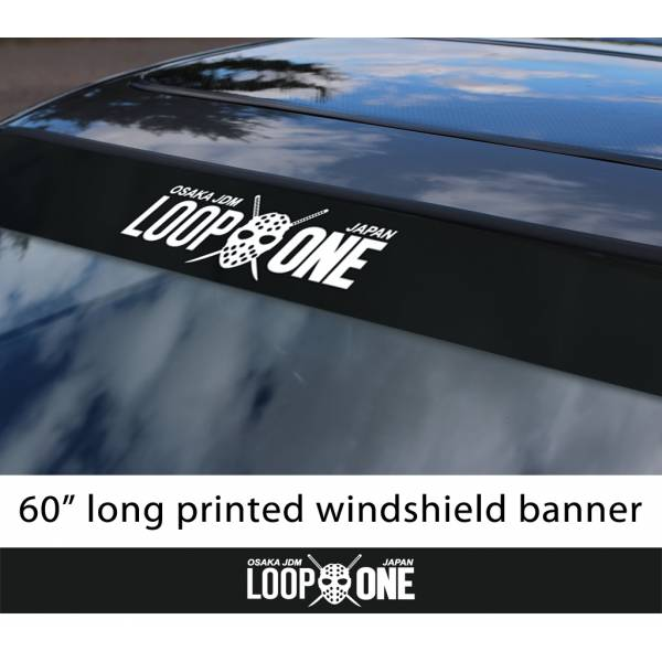 "60"" Loop One Kanjo Mask Osaka JDM Performance Loop Angels Civic Printed Sun Strip Windshield Banner Car Vinyl Sticker Decal>"