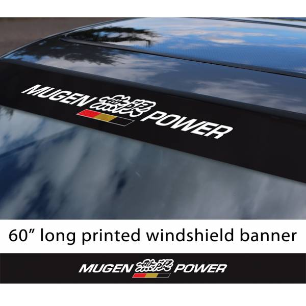 "60"" Mugen Power v1 Honda Motorsport Racing  JDM Japan Made Printed Sun Strip Windshield Banner Car Vinyl Sticker Decal"