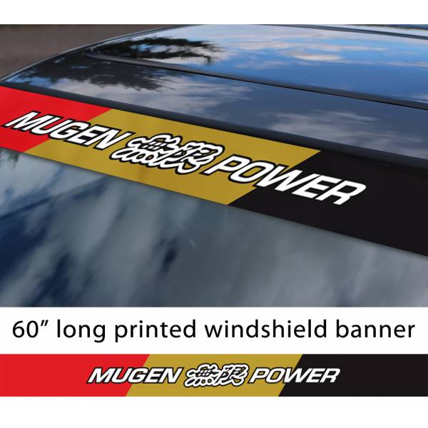 "60"" Mugen Power v2 Kanji Honda Motorsport Racing  JDM Japan Made Printed Sun Strip Windshield Banner Car Vinyl Sticker Decal"