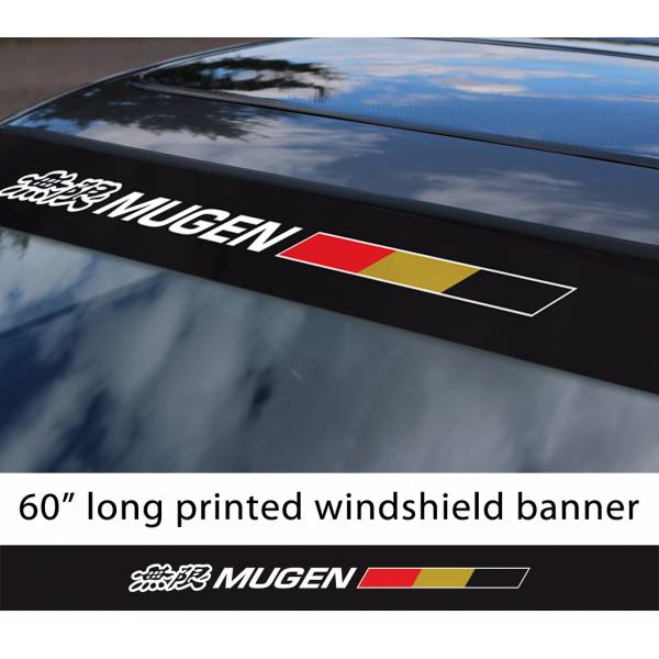 "60"" Mugen Power v3 Kanji  Motorsport Racing  JDM Japan Made Printed Sun Strip Windshield Banner Car Vinyl Sticker Decal#Honda"