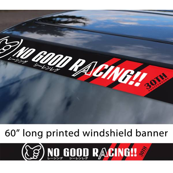 "60"" No Good Racing 30th Anniversary Kanjo Osaka JDM Loop Angels Civic Printed Sun Strip Windshield Banner Car Vinyl Sticker Decal>"