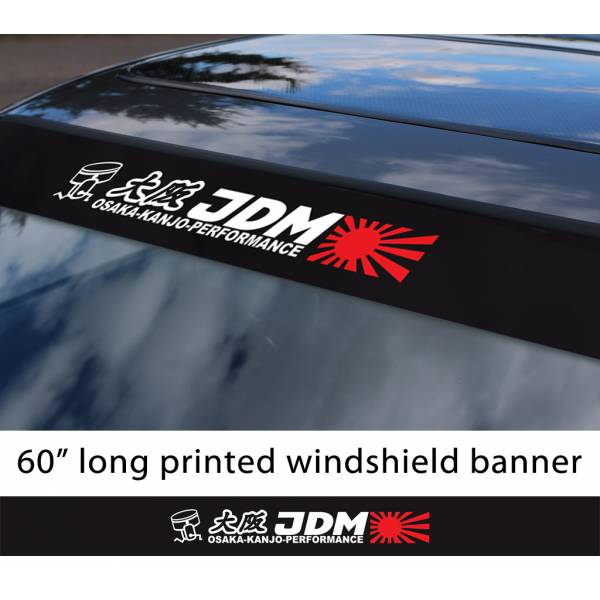 "60"" JDM Osaka Kanjo Performance v1 Rising Sun Loop Angels  Civic Printed Sun Strip Windshield Banner Car Vinyl Sticker Decal#Honda"