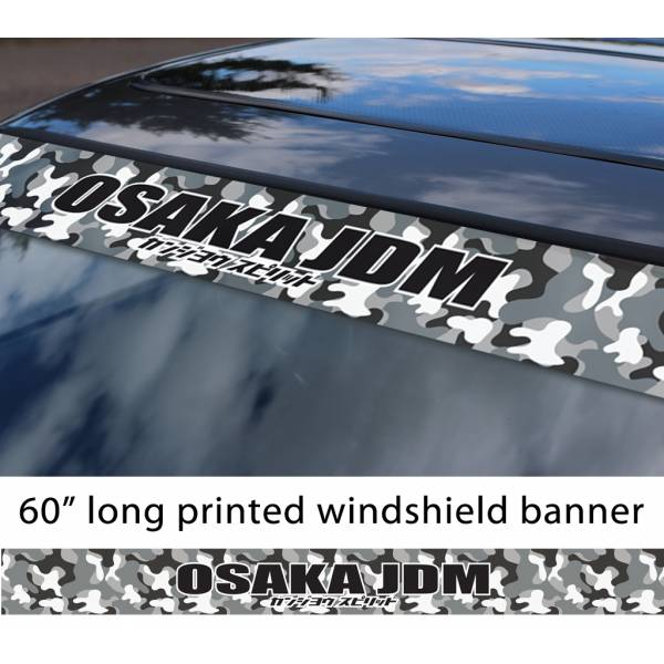 "60"" Osaka Flying Spirit JDM Kanjo Performance Loop Angels Printed Sun Strip Windshield Banner Car Vinyl Sticker Decal>"
