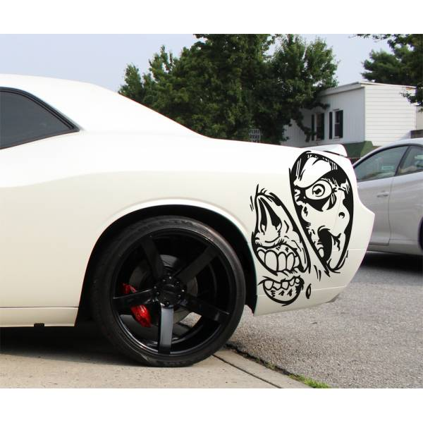 2x Pair Zombie Team Skull 4x4 Graphic Fender Side Car Truck Vinyl Sticker Decal>