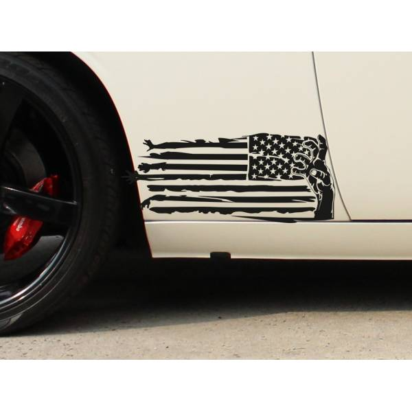 2x Pair Zombie Hand USA Flag Star Stripe Outbreak Response Car Vinyl Sticker Decal>