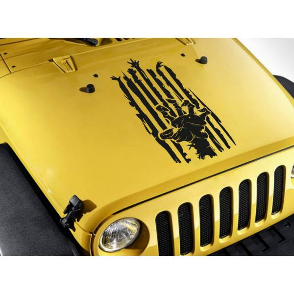Hood Zombie Hand Scratch Stripe Outbreak Response Team Car Vinyl Sticker Decal>