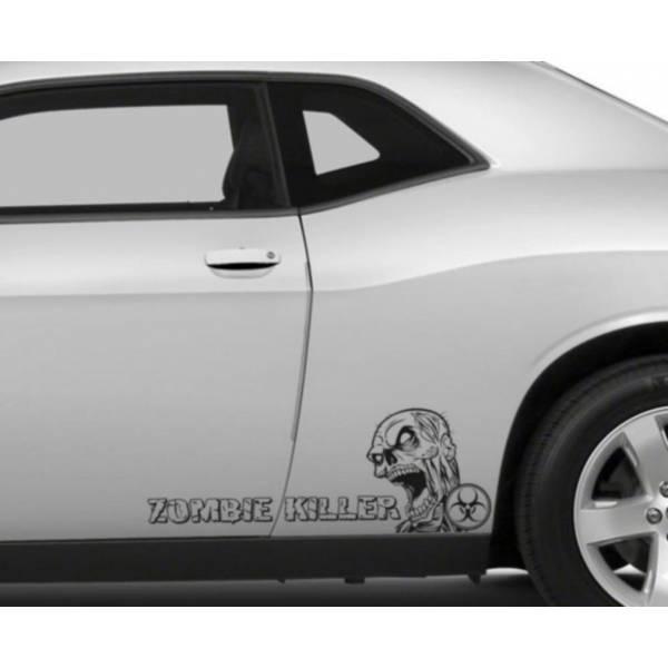 2x Pair Side Zombie Killer Outbreak Response Team Vinyl Decal Walking Car>